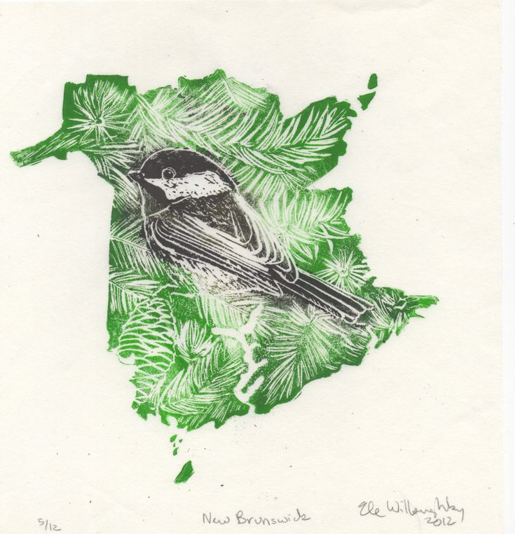 New to minouette on Etsy: New Brunswick Black-Capped Chickadee and Balsam Fir linocut - Handprinted Maps Provincial Symbols - Provinces & Territories of Canada (25.00 USD)
