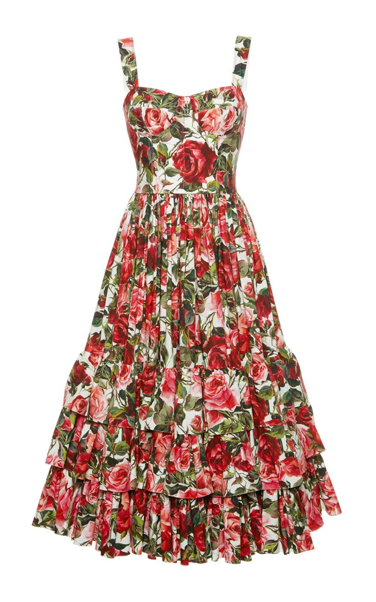 Rose Print Poplin Bustier Dress by DOLCE & GABBANA Now Available on Moda Operandi
