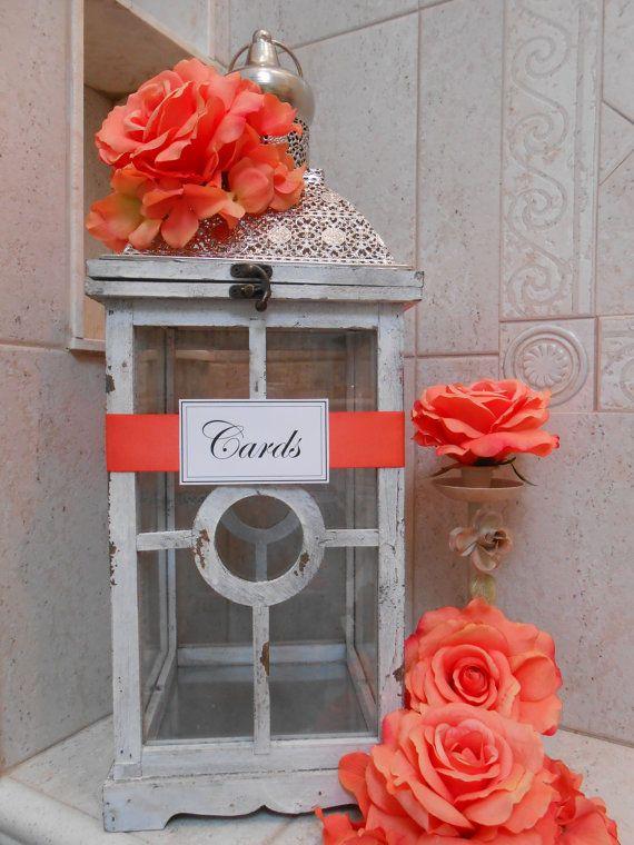 Lantern Wedding Card Holder / Large Wedding Lantern by TheLaceMoon, $115.00