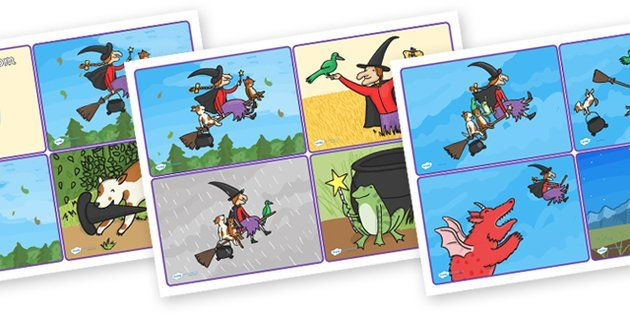 Room on the Broom Story Sequencing Cards 4 per A4 - room on the broom, story sequencing, story sequencing cards, 4 per A4, ordering, sequencing