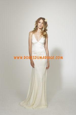 Nicole Miller robe bretelles 2012 col en V simple robe de mariée satin stretch