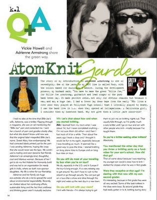 My interview with Adrienne Armstrong for Knit.1 Magazine, Spring '08