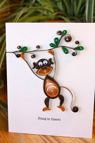 Hang in there greeting card - Quilled Monkey on Branch - Unique - Encouragement