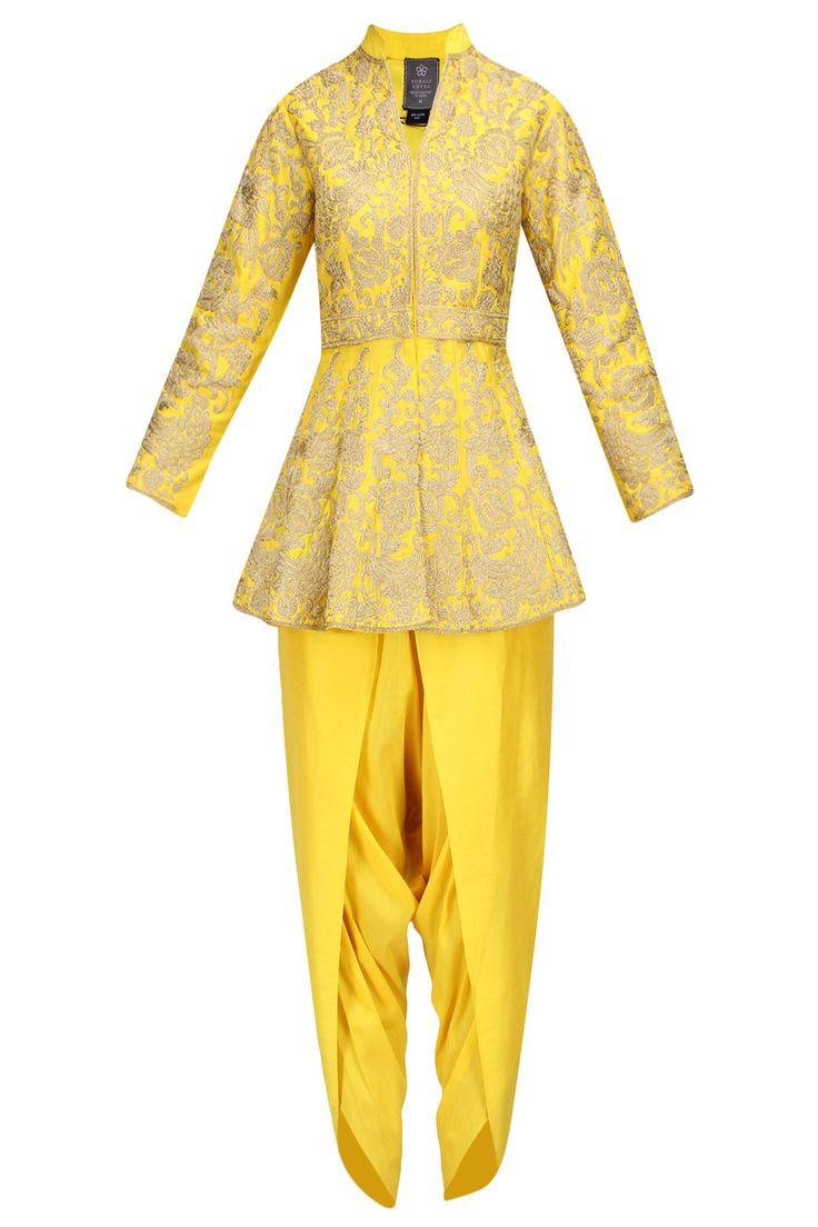 Yellow zari work peplum short kurta with dhoti pants available only at Pernia's…