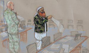 A courtroom sketch of Khalid Sheikh Mohammed, whose defense team said it received a sealed order in February that the judge had permitted the government to destroy evidence.