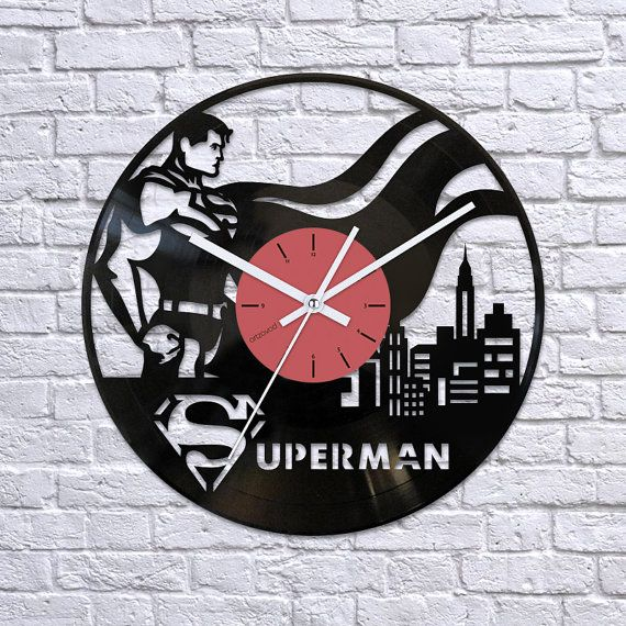 Superman gift vinyl clockSuperman vinyl record by Artzavodstudio