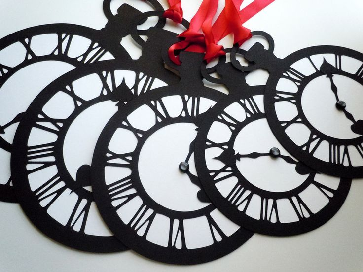 As Seen On Hostess With the Mostess Blog-Alice In Wonderland Party Decoration Pocket Watch/ Clock Set of 5