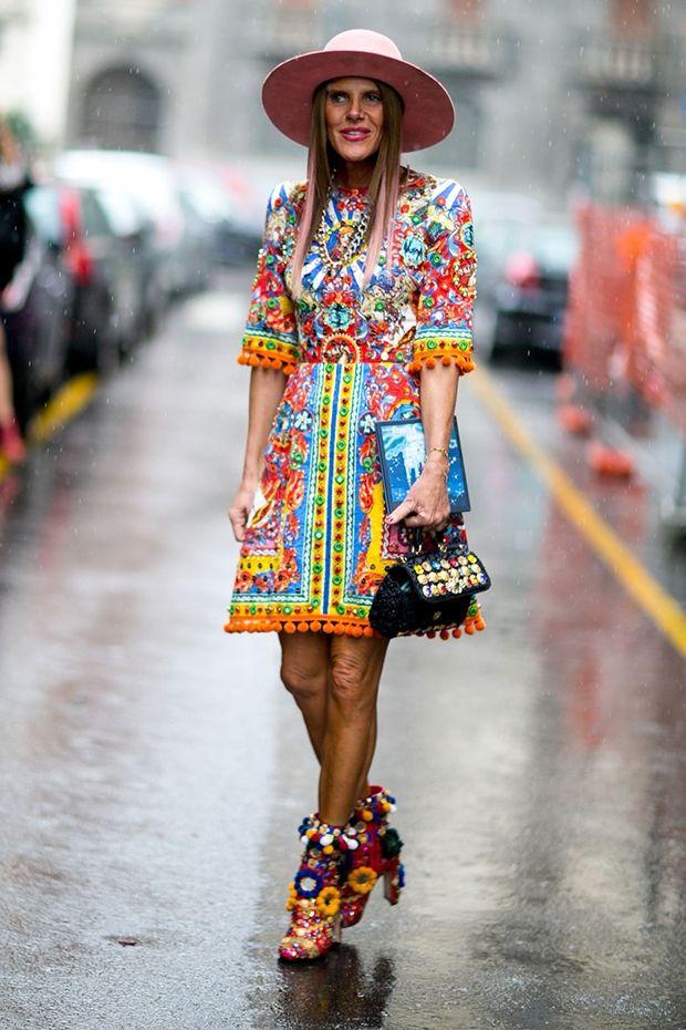 Anna Dello Russo in Dolce&Gabbana - Style roundup Milan FW16 day 5 - February 28,