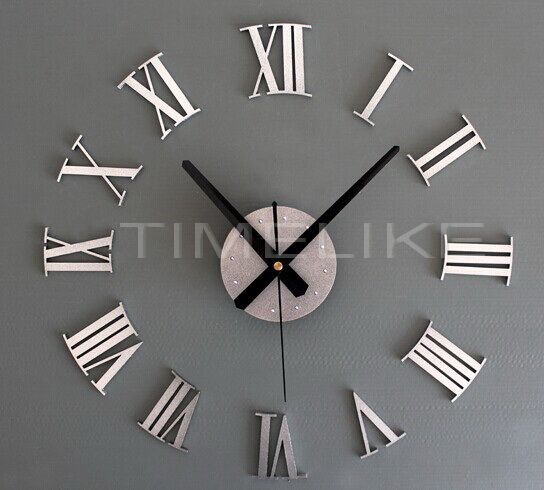 2017 New Mirror Face DIY Wall Clock Roman Numeral Number Wall Clock 3D Home Decor Living Room