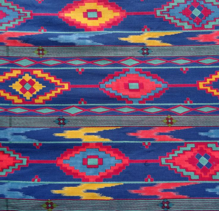 tissu indien coton au m tre bleu dessins ethniques tissus habillement d co par akkacreation. Black Bedroom Furniture Sets. Home Design Ideas