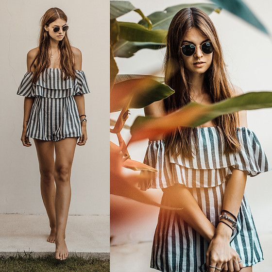 Get this look: http://lb.nu/look/8900497  More looks by Jacky: http://lb.nu/whaelse  Items in this look:  Missguided Playsuit, Ray Ban Sunglasses   #bohemian #casual #minimal #onepiece #jumpsuit #overall #stripes #striped #summer