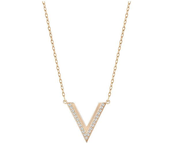 A classic design with a contemporary edge. This rose gold-plated Swarovski necklace shows a graphic V silhouette decorated with clear crystal pavé. A ... Shop now