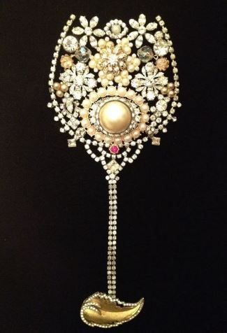 Vintage New Year's Eve Inspired Rhinestone Jeweled Champagne Glass Collage Art * Brooches, Pins, Earrings, Bits & Baubles * DIY Inspiration * Perfect fun framed wall art or memory piece to display jewelry of a loved one that has passed.