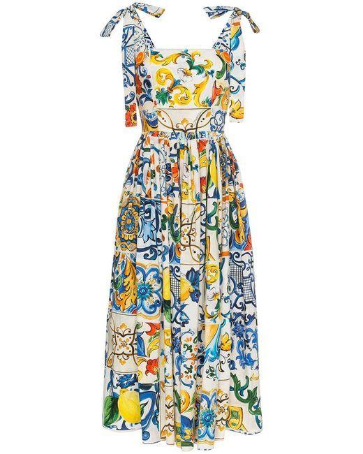 5fa19e73 Dolce & Gabbana - Multicolor Maiolica Print Midi Dress - Lyst ...