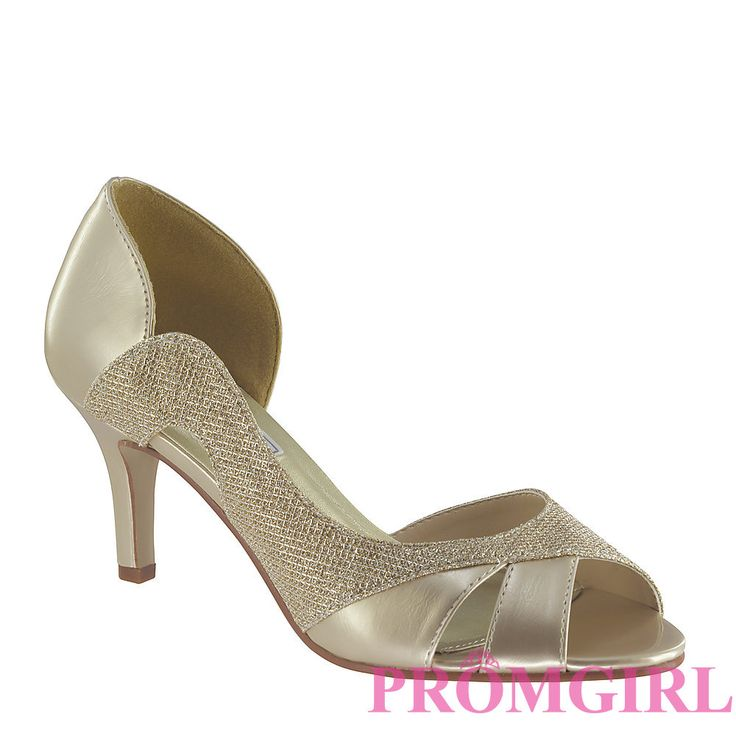 Champagne Colored Evening Wear Closed Toe Low Heel Shoes