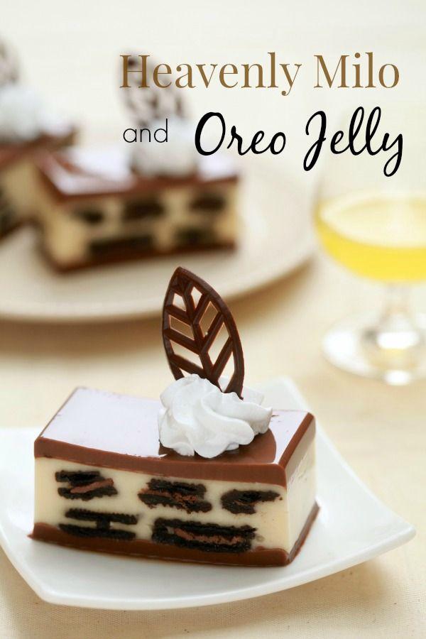 masam manis: Heavenly Milo and Oreo Jelly 12 gm atau 10 gm agar-agar serbuk ~ 1 peket 750 ml air 160 gm gula 400 gm susu cair 3/4 cawan Milo 1 bungkus Oreo ~ patah 2, biarkan dengan cream