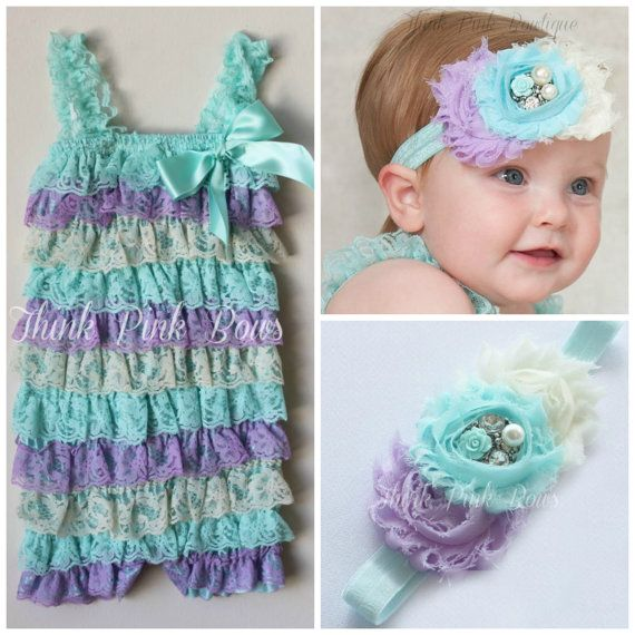 Baby headband and  petti lace romper SETpetti by ThinkPinkBows, $19.95 A pastel riff on Aunt Susan's favorite color combination!