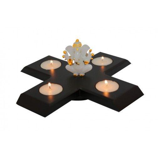 Rotating Ganesha 4 Tea Light Stand