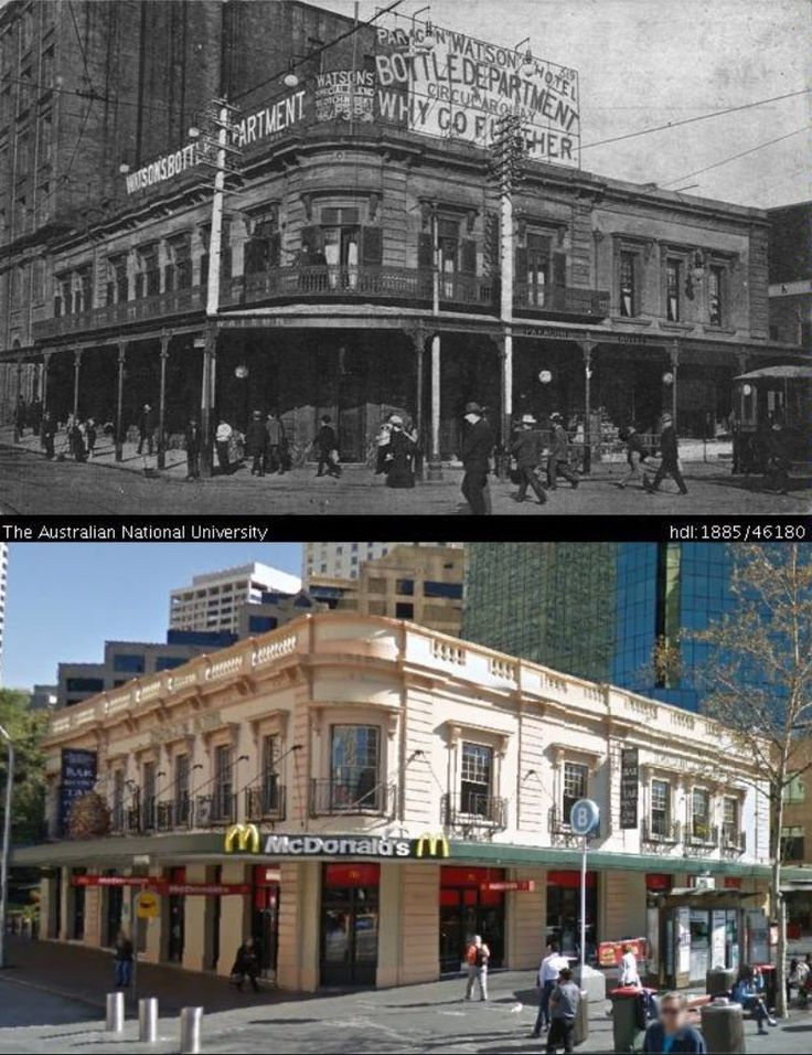 The Paragon Hotel at Circular Quay in 1913 and 2014. [1913 - Australian National University/2014 - Google Street View. By Phil Harvey]