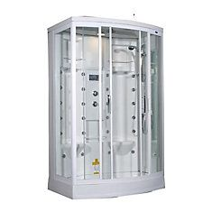 56 Inch x 37 Inch x 85 Inch Steam Shower Enclosure Kit with 24 Body Jets in White with Right Hand
