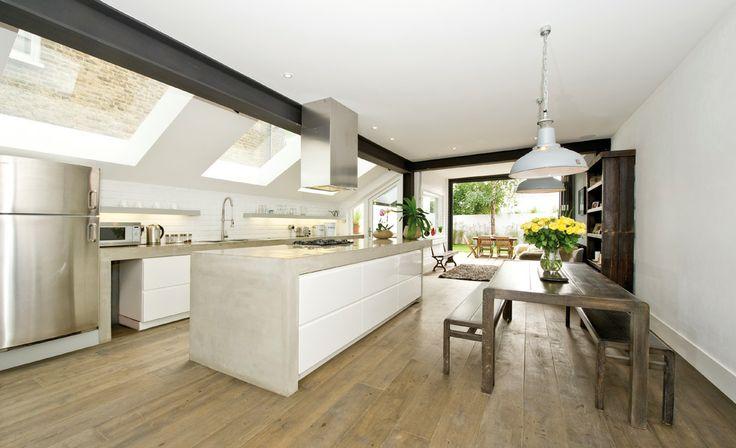 Kitchen Extension - concrete island unit