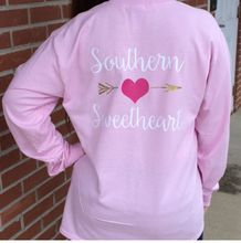 Southern Sweetheart Monogrammed TShirt the perfect gift for Valentine's day that can be worn year around. Features her monogram on the front. Click on pin for more information from Carolina Clover.