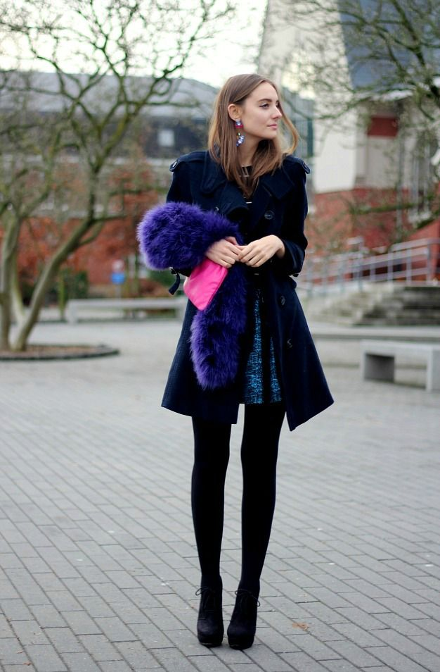 Black opaque tights heels shiny blue dress and purple furry