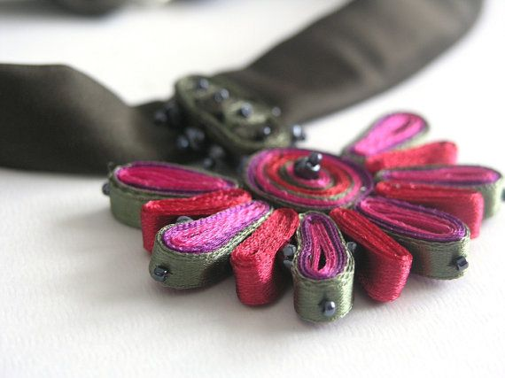 Textile Necklace  Red Pink Statement by AudraTextileStudio on Etsy, $35.00
