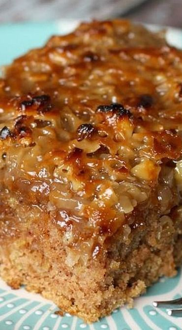 Old-Fashioned Oatmeal Cake -  1 1/2 c. boiling water, 1 c. brown sugar, 1 c. granulated sugar, 1/2 c. shortening, 1 c. oatmeal, 2 eggs, 1 tsp. baking soda, 1 tsp. cinnamon, 1 1/2 c. flour,1/2 tsp. salt ~~ Topping: 1/2 c. butter melted, 1/2 c. brown sugar, 1/4 c. cream or evaporated milk, 1 c. chopped walnuts, 1 c. coconut, 1 tsp. vanilla...