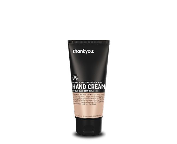 Thankyou 80mL Sweet Orange & Almond Hand Cream. Free from parabens, SLS, SLES, EDTA and harsh chemicals (RRP $5.00)