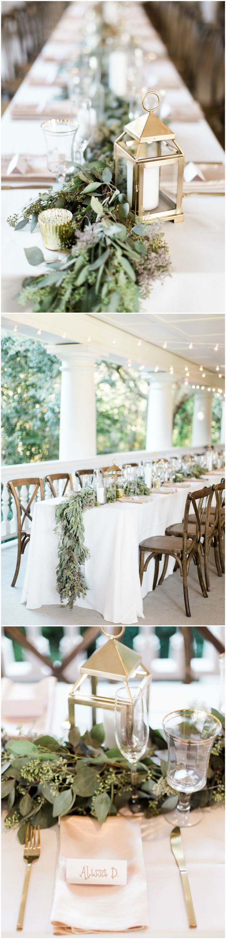 Natural wedding reception, leafy garlands, gold lanterns, gold flatware, brown cross-back chairs, long tables, white tablecloths, bistro lights // Rachel Red Photography
