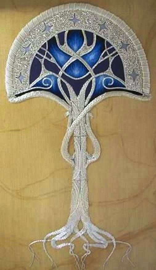 """This is """"Tree of Gondor"""" by Katie Pirson. This piece is worked in silk and metal threads.   Katie is a graduate of the Royal School of Needlework and a noted hand embroiderer. See more of Katie's work on her Flickr page at https://www.flickr.com/photos/katiepirson/2611490444/in/set-72157605816858329"""