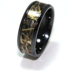 mens hunting jewelry black zirconium realtree camo ring realtree wedding ringstitanium
