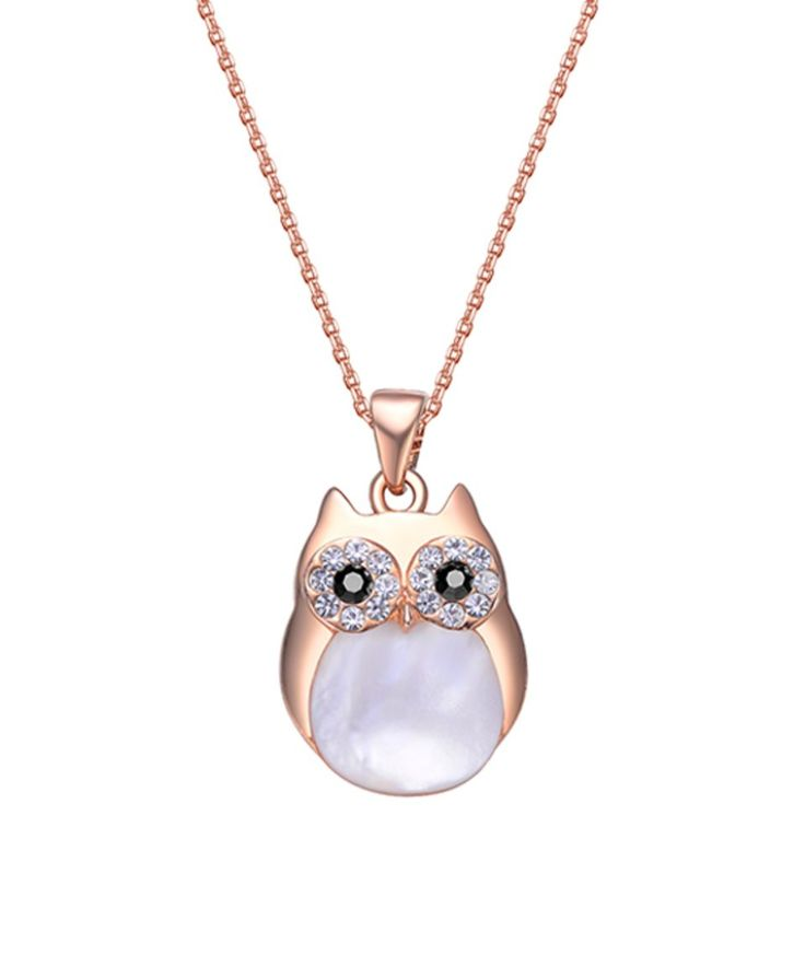 Take a look at this Shell Pearl Owl Pendant Necklace With Swarovski® Crystals today!