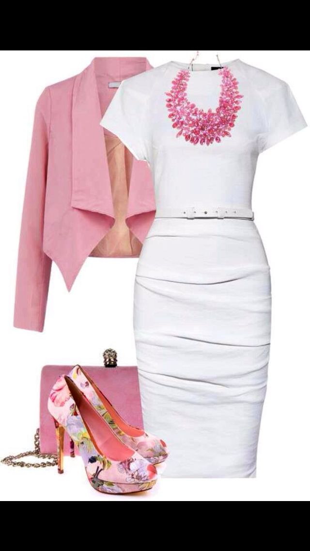 Pink & white women's fashion outfit idea