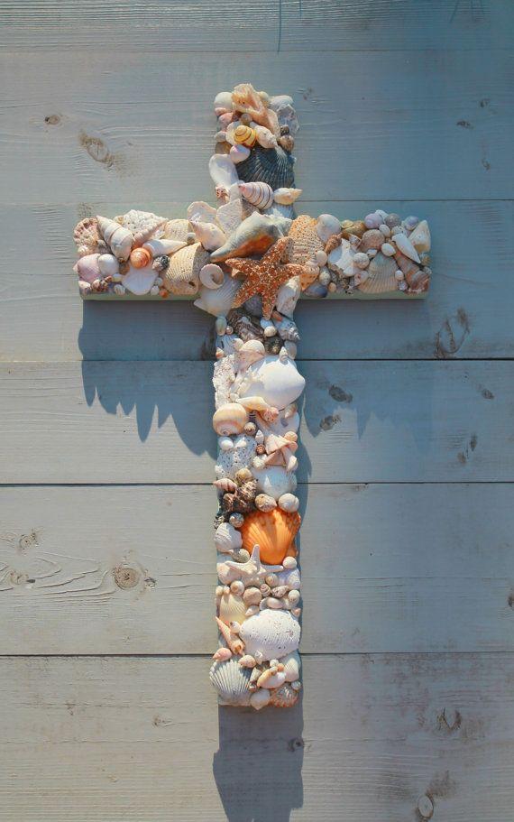 Seashell Wooden Cross/Wedding Beach Cross by  ~My Honeypickles~