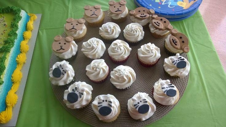 Zebra, bear, and monkey cupcake toppers