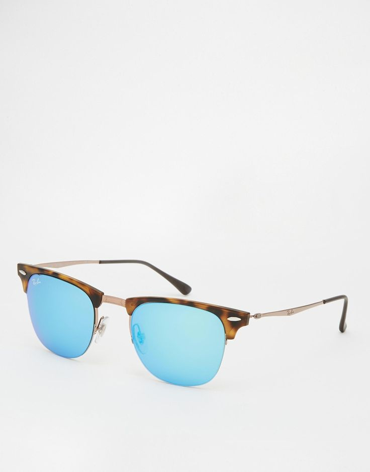 """Clubmaster sunglasses by Ray-Ban Angular tortoiseshell frames with signature rivet detailing Adjustable silicone nose pads for added comfort High-shine, colour tinted lenses Branded arms with curved temple tips for a secure fit Lens measurements: 51mm/2"""" Total UV protection"""
