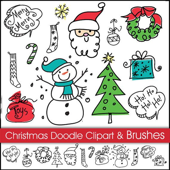 Christmas Doodles Digital Clipart and Brushes. Instant Download.Digital Scrapbooking. Personal and Commercial Use.