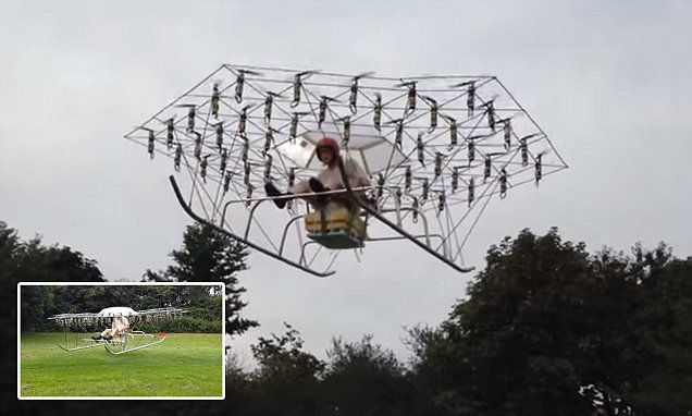 54-propeller 'Swarm' flying machine can keep a man airborne