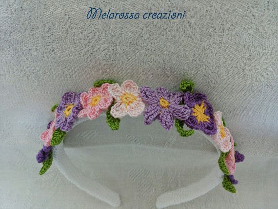 Handband jewel OOAK (one of a kind) handmade. A real jewel to wear.   This handband is composed of a plastic soul covered with a crocheted tubolar in lisle thread and is decorated with small coloured flowers in lisle thread.  #handband #jewel #crochet #flowers #coloured #bridesmaid #gift #party #accessories #moda #cerchietto #uncinetto #lisle #thread #violet #girl #baby #young #outfit #crown #nature #fiori