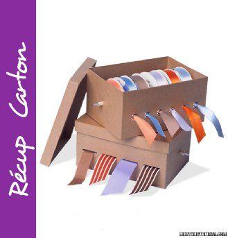 ranger ses rubans dans des boite à chaussures. Une idée pratique et qui conserve les rubans à l'abris de la poussière !