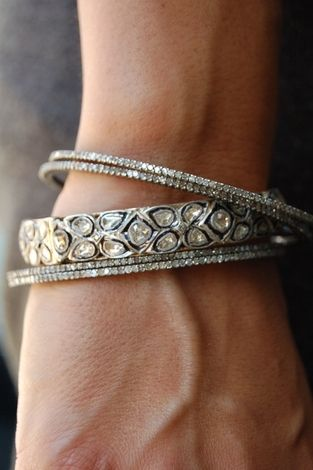 RONA PFEIFFER Diamond bangle, Rose cut Diamonds approx 5.1ct. set in Sterling Silver .925 and 14k Gold back, 7,200 USD