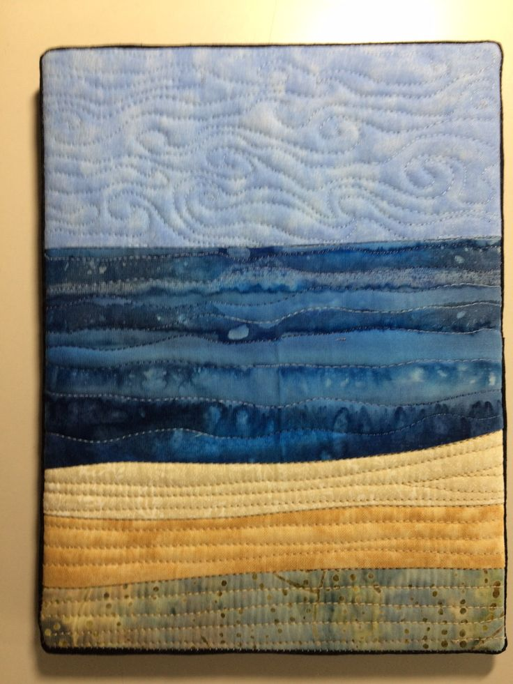 Art Quilt Abstract Seascape Mini Canvas Mounted Small