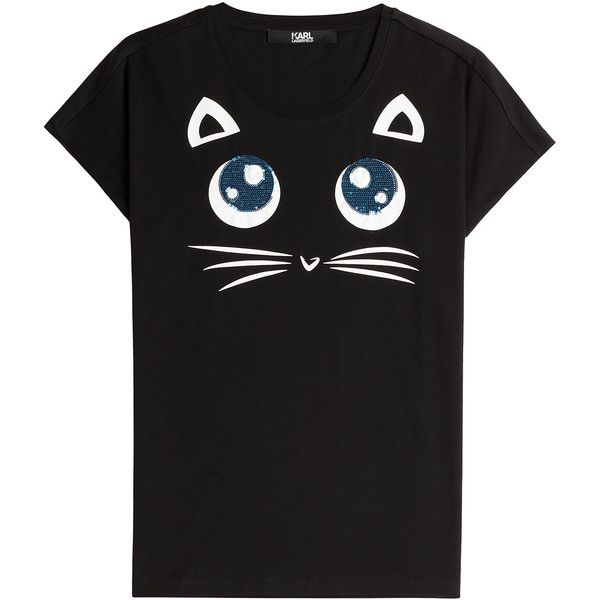 Karl Lagerfeld Choupette Big Eyes Printed Cotton T-Shirt (4,470 DOP) ❤ liked on Polyvore featuring tops, t-shirts, black, cat t shirt, black cotton t shirt, cat print top, cotton tee and black cotton top