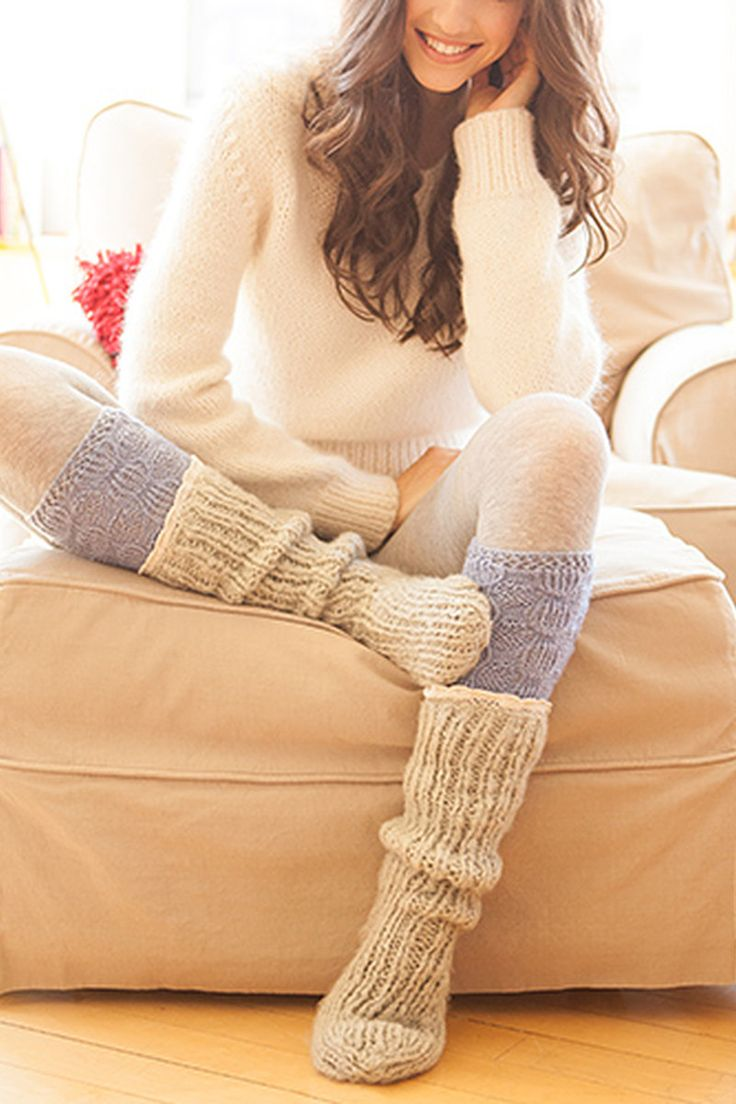 Snuggle up in cozy sweaters and thick socks!