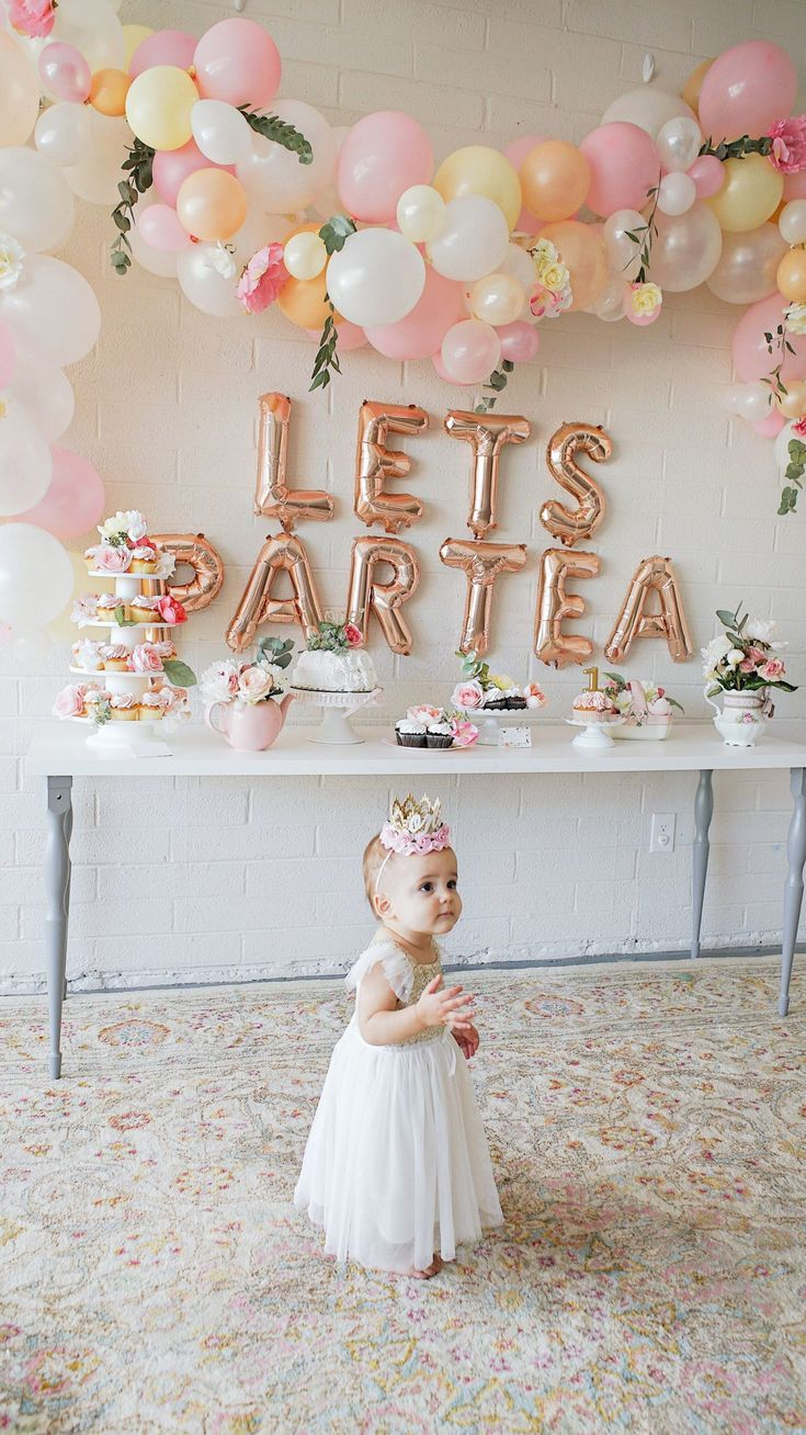 First Birthday Tea Party Lets Partea Birthday Decor Follow Our Pinterest Page At Girls Tea Party Birthday Girls Birthday Party Decorations Tea Party Birthday