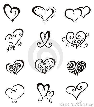 Elementos decorativos del vector en forma de corazón para el diseño o el tatuaje.