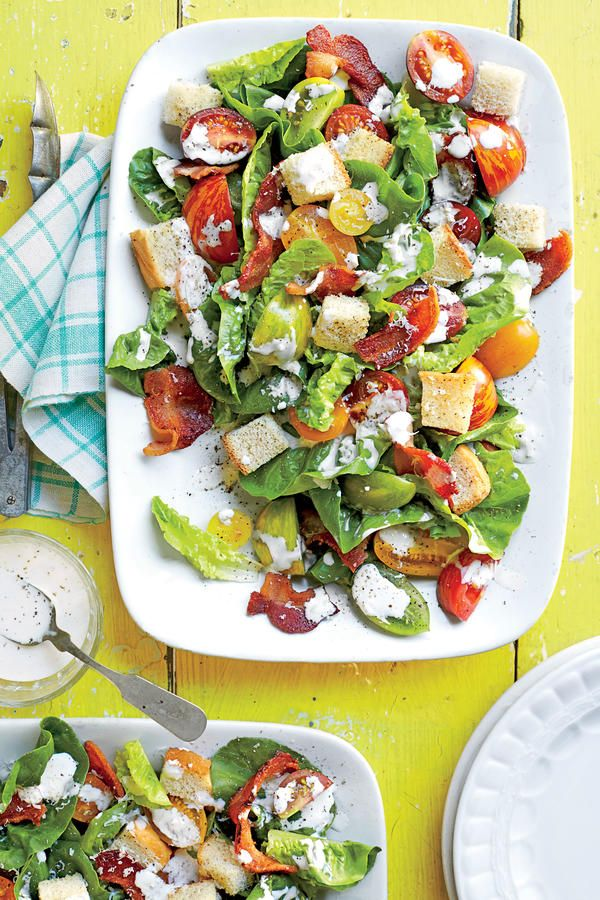 BLT Salad - 68 Quick and Delicious Summer Salads - Southernliving. Recipe: BLT Salad Few things taste better than a BLT, and this delicious salad takes it off the toast and makes it easy to share. That doesn't mean you don't get some delicious crunch here though—you'll still enjoy two delicious treats in this regard. Bake the croutons and bacon together on the same baking sheet. This rustic salad only take 20 minutes to whip up and, trust us, the results are well worth the effort. You might…
