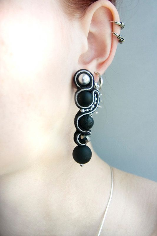 Black silver soutache earrings